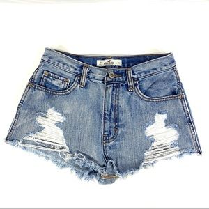 Hollister High Rise Cheeky Distressed Shorts